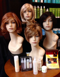 A sampling of wigs found at EnV hair lounge & wig center